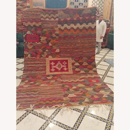 Used Kilim Rugs Handmade Moroccan Wool Kilim Rug for sale on AptDeco