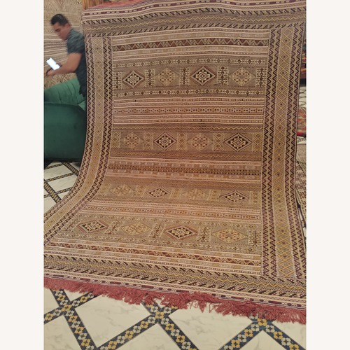 Used Kilim Rugs Handmade Moroccan Silk Kilim Rug for sale on AptDeco