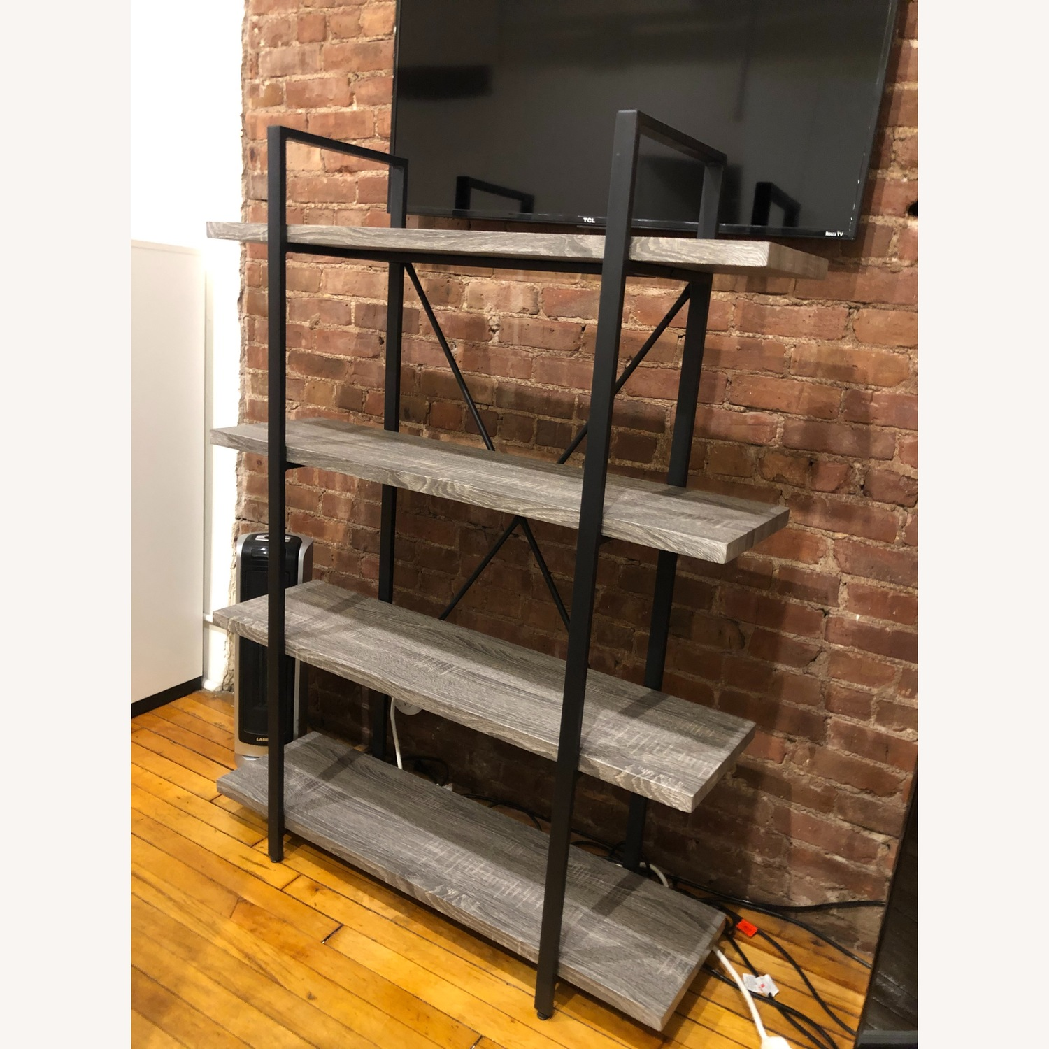 Dark Grey Wooden Shelves w/ Black Metal Finish - image-1