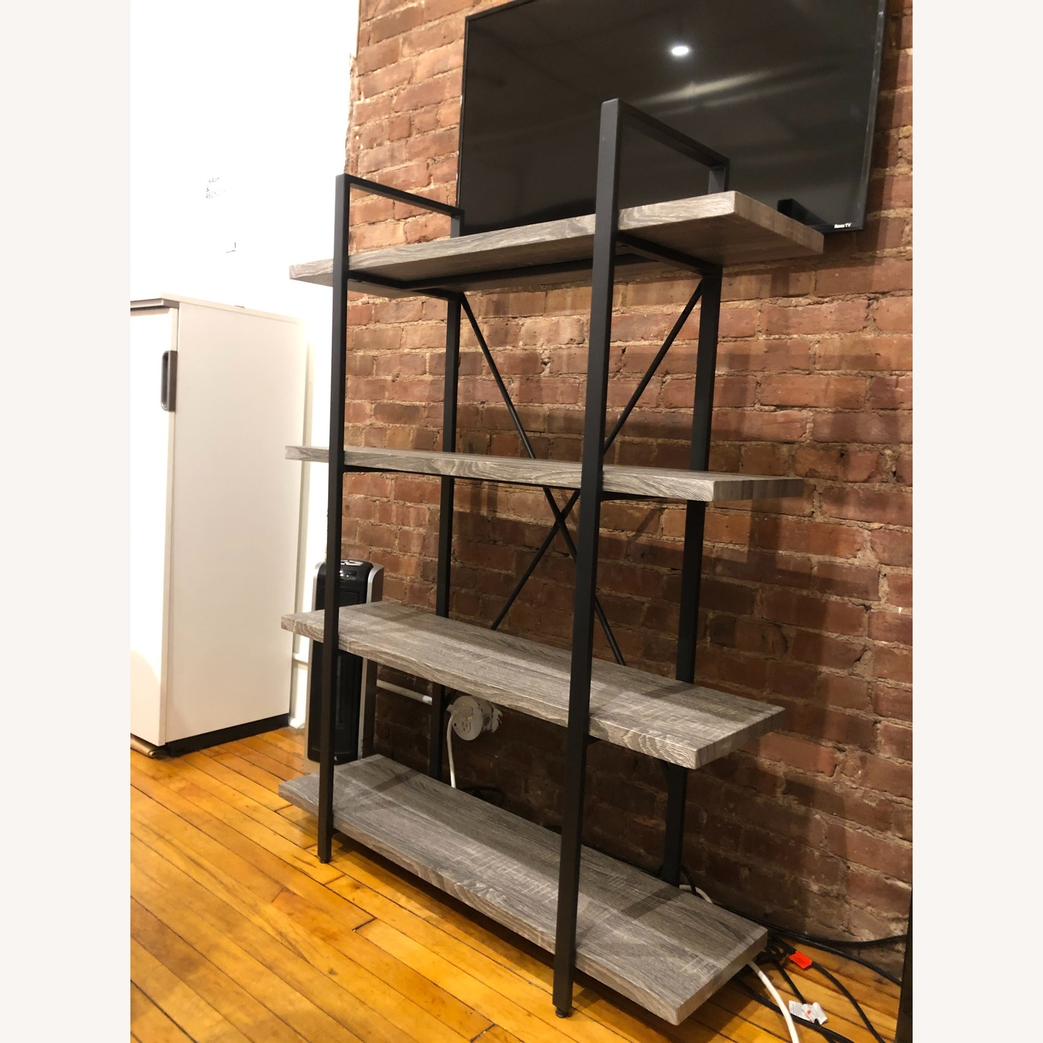 Dark Grey Wooden Shelves w/ Black Metal Finish - image-2