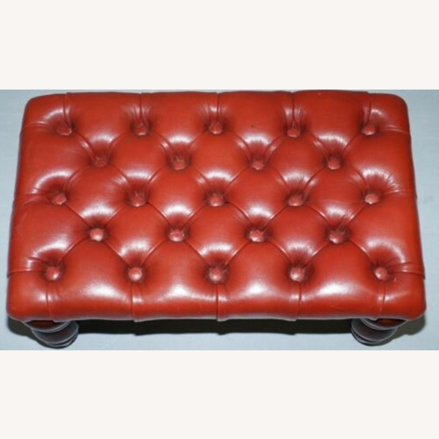 Vintage Handcrafted Oxblood Chesterfield Footstool - image-1