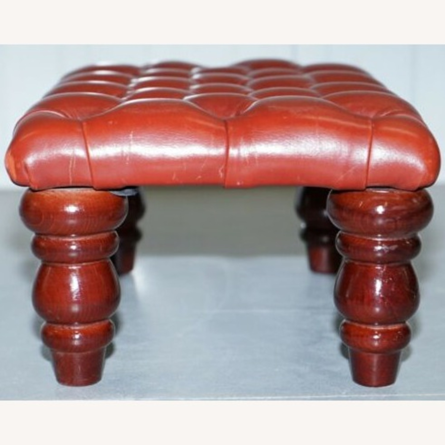 Vintage Handcrafted Oxblood Chesterfield Footstool - image-3