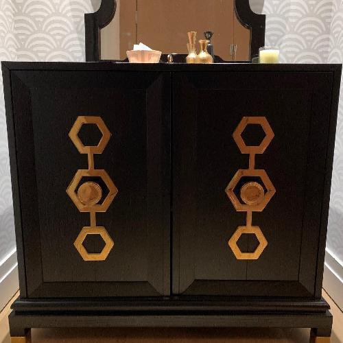 Jonathan Adler Turner Oak & Brass Storage Cabinet