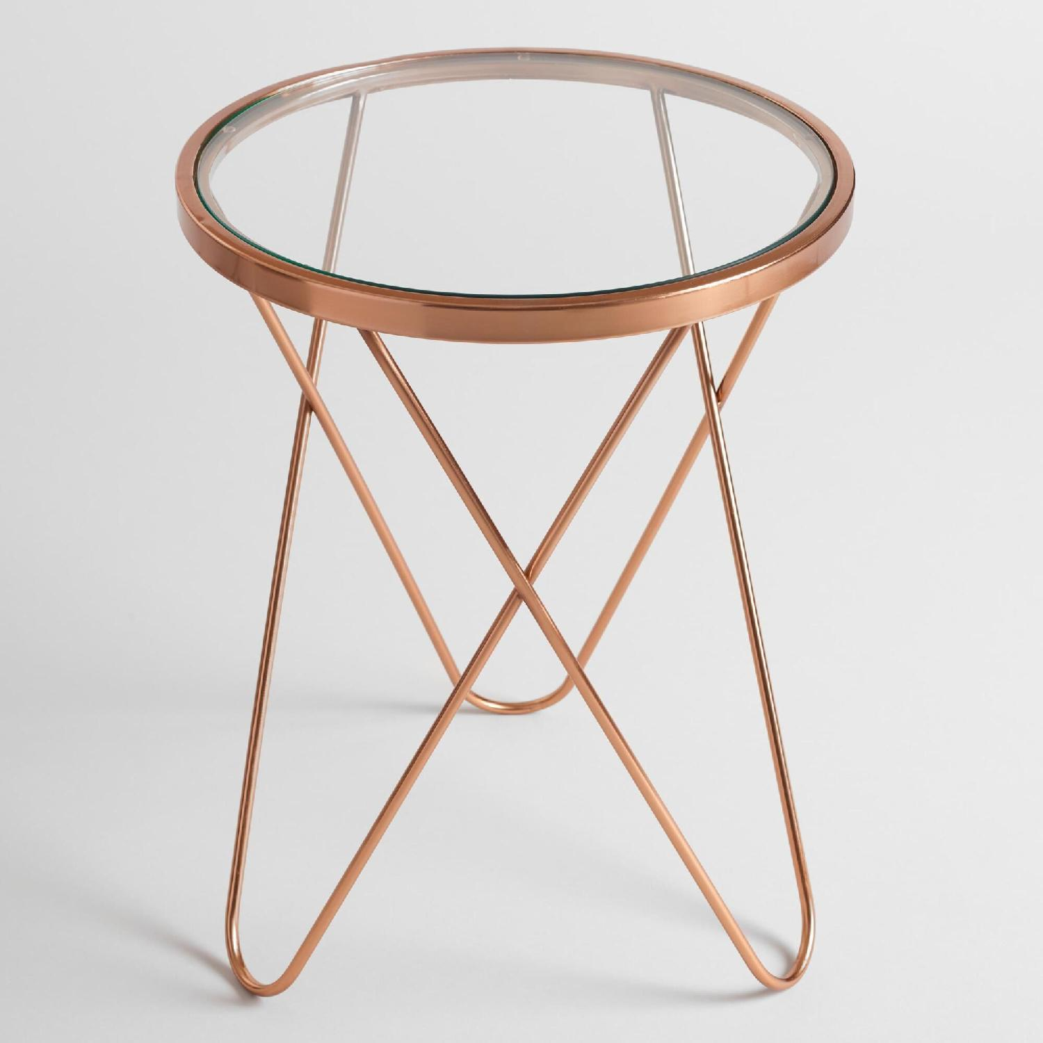 Round Rose Gold Metal Side Table w/ Glass Top - image-5