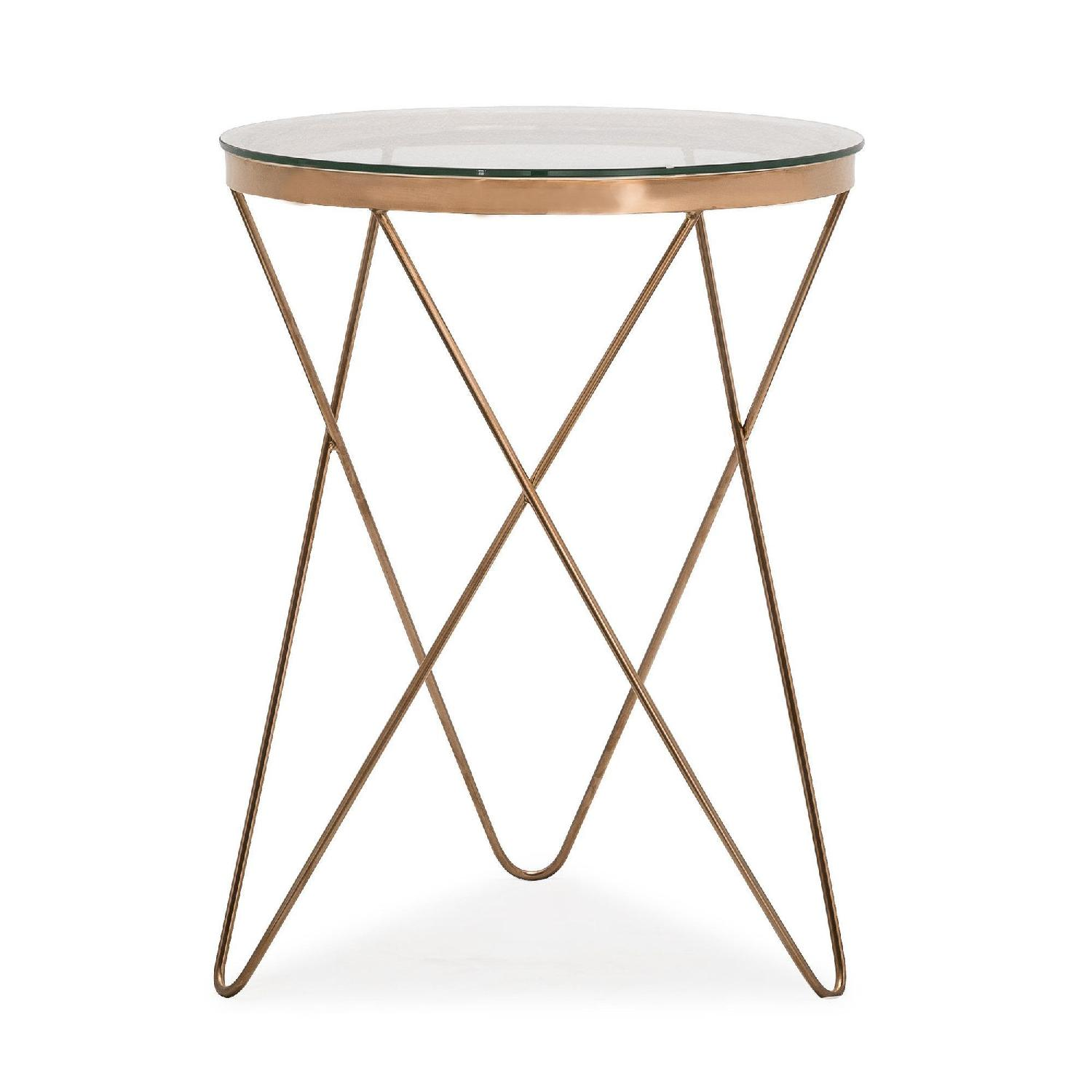 Round Rose Gold Metal Side Table w/ Glass Top - image-0