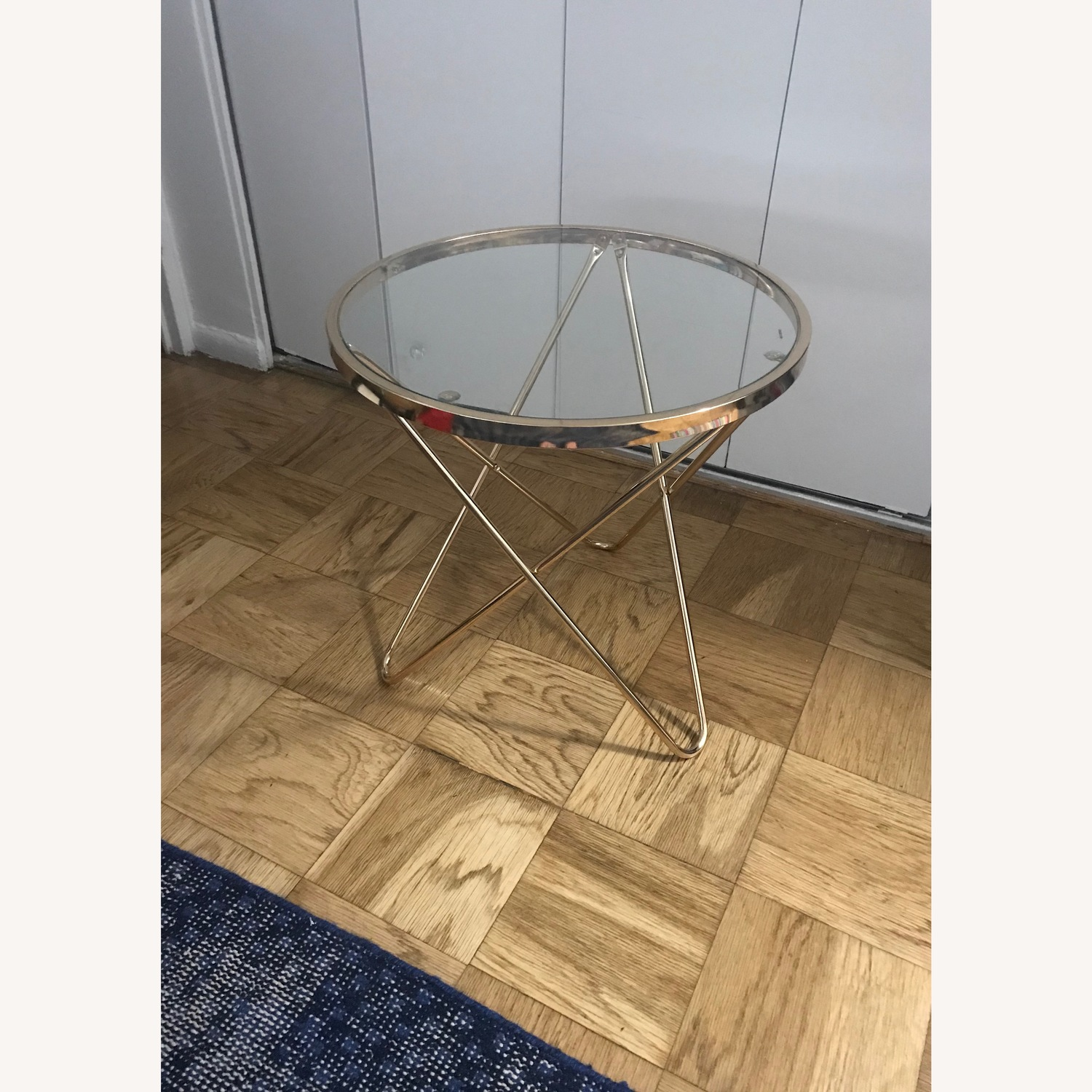 Round Rose Gold Metal Side Table w/ Glass Top - image-4