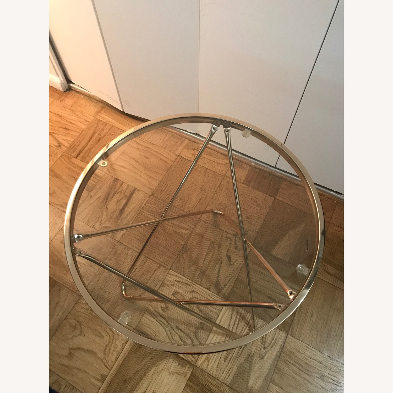 Round Rose Gold Metal Side Table w/ Glass Top - image-3
