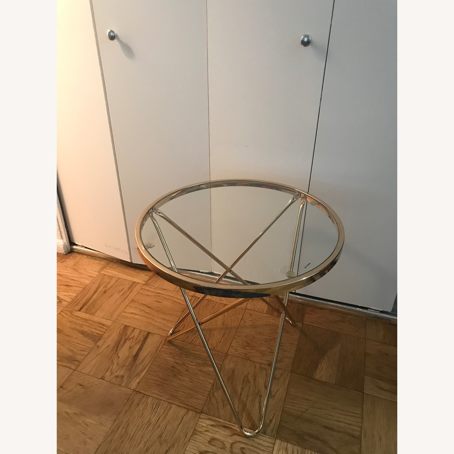 Round Rose Gold Metal Side Table w/ Glass Top - image-2