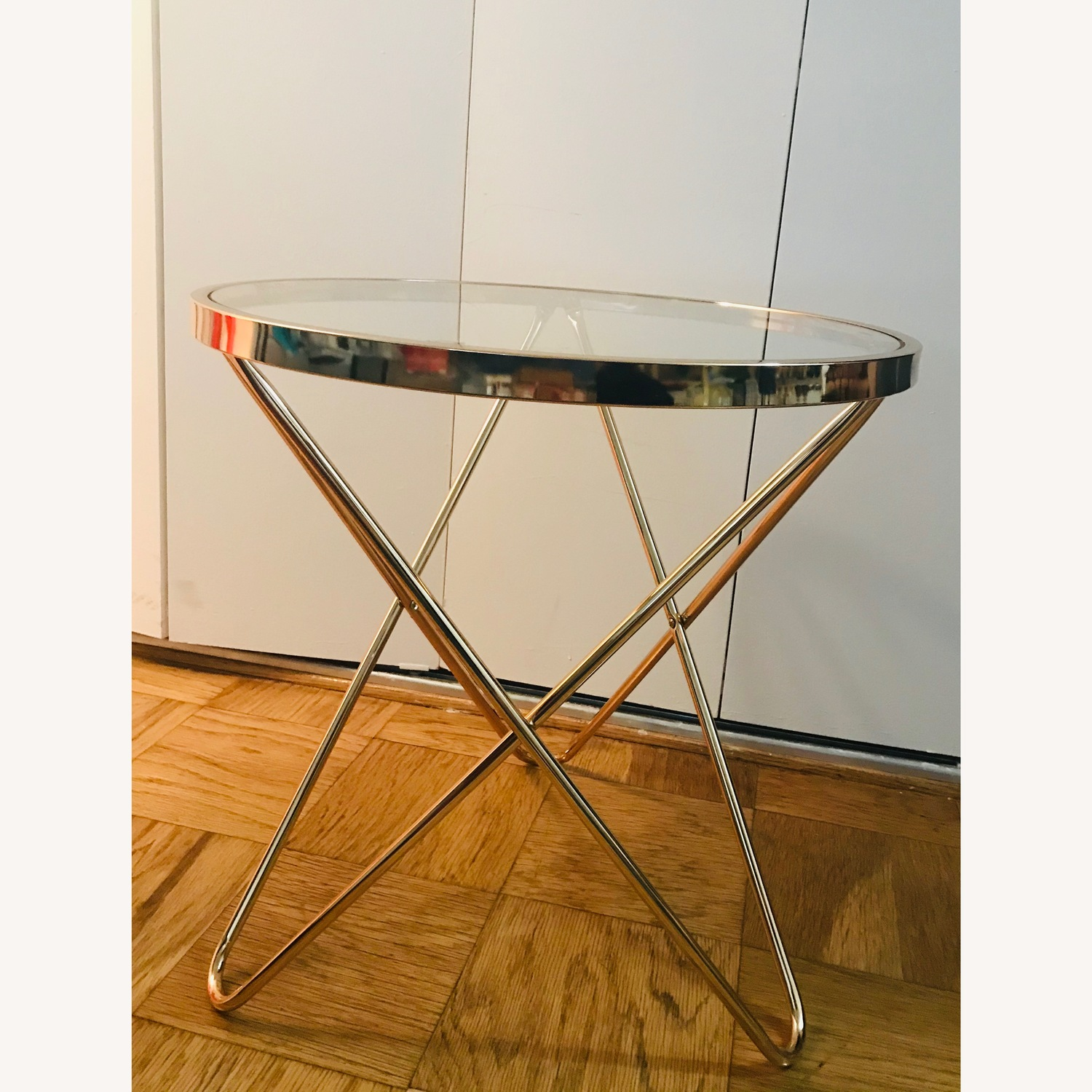 Round Rose Gold Metal Side Table w/ Glass Top - image-1