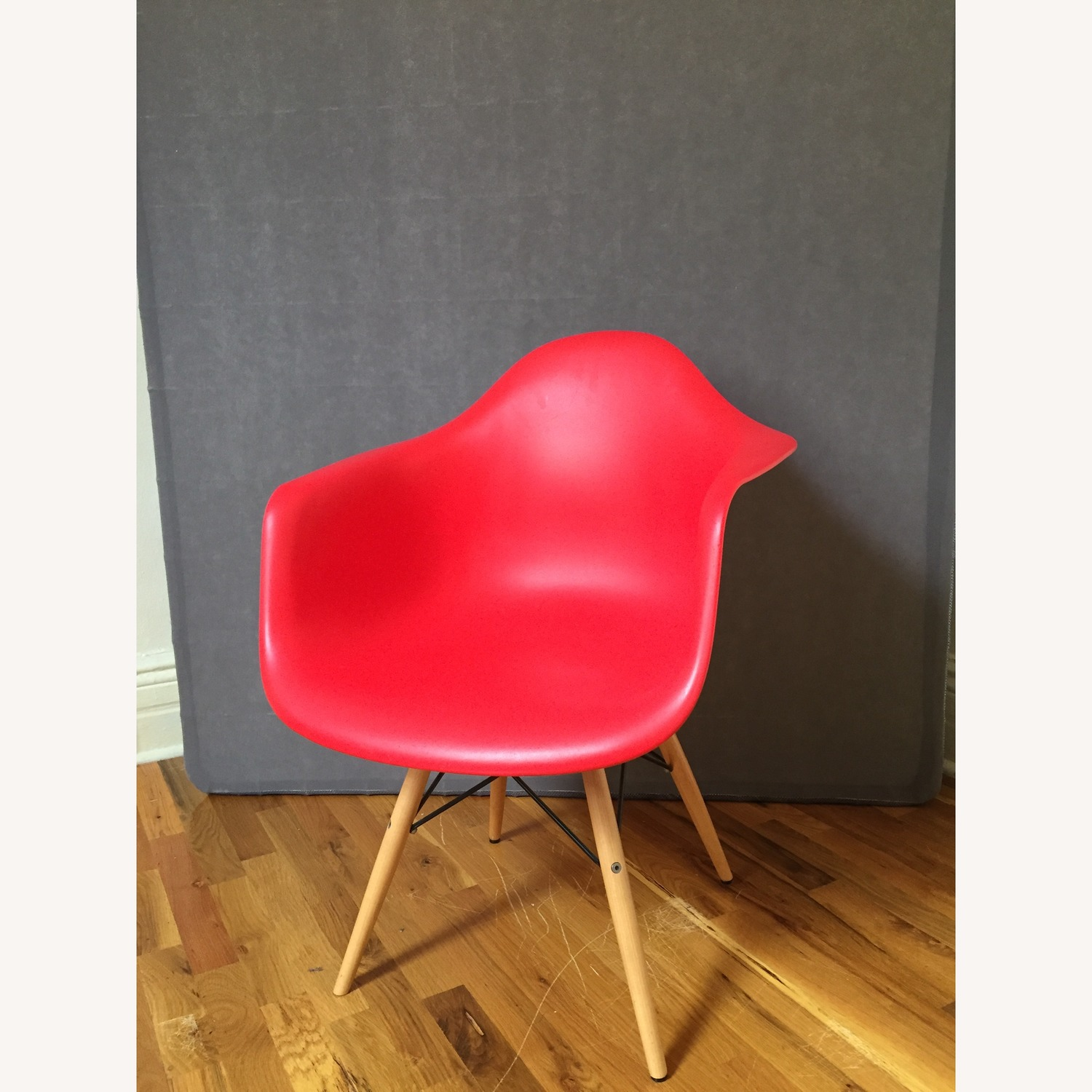 Replica Eames Molded Plastic Red Armchair - image-1