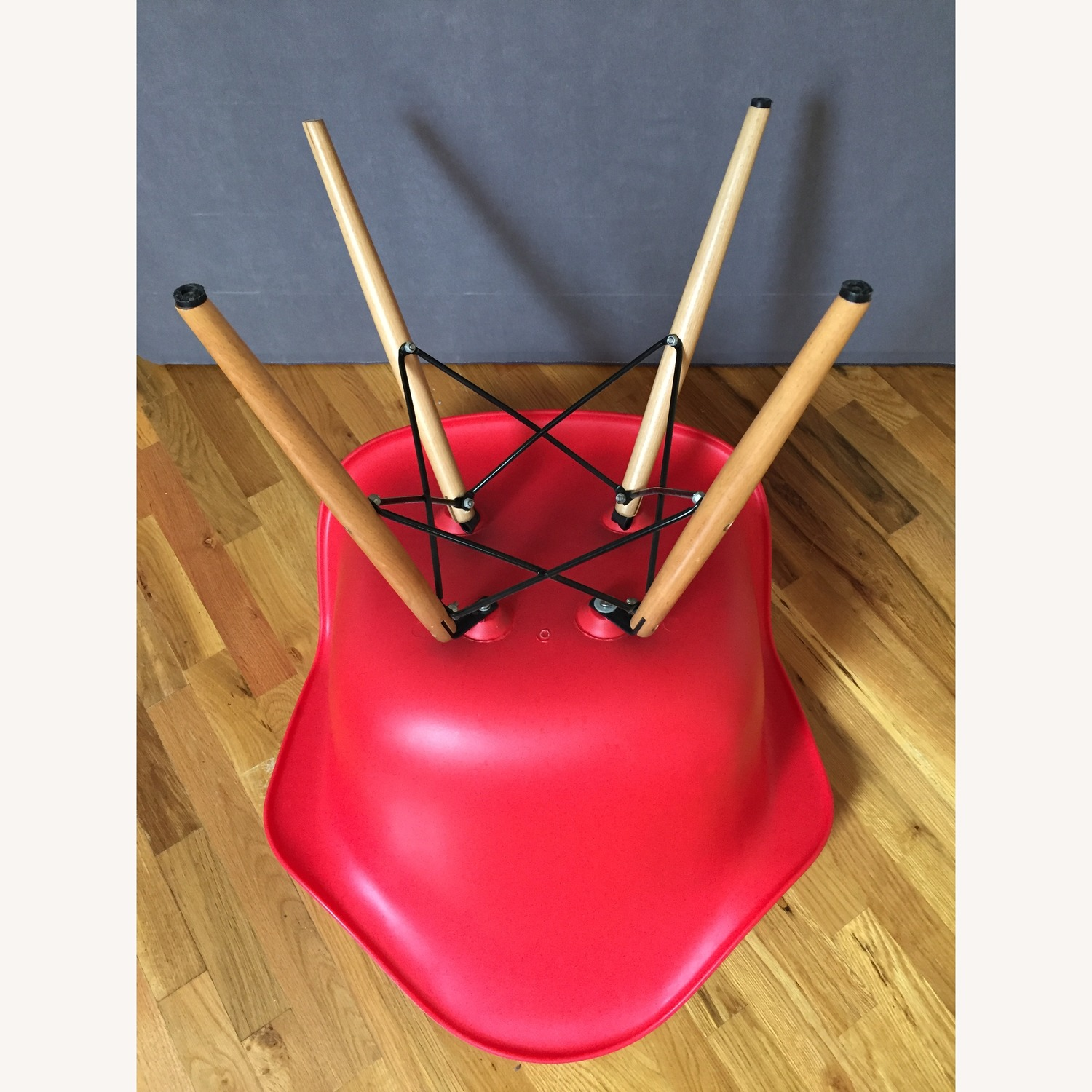 Replica Eames Molded Plastic Red Armchair - image-2