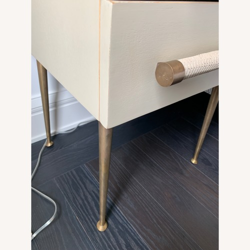 Century Antique Brass & White Lacquered 2-Drawer Nightstand