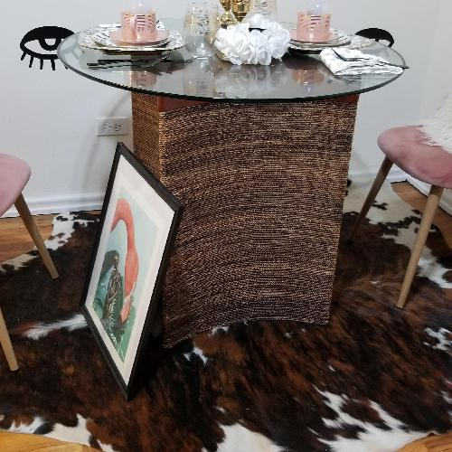 Pier 1 Round Glass Top & Seagrass Base Dining Table
