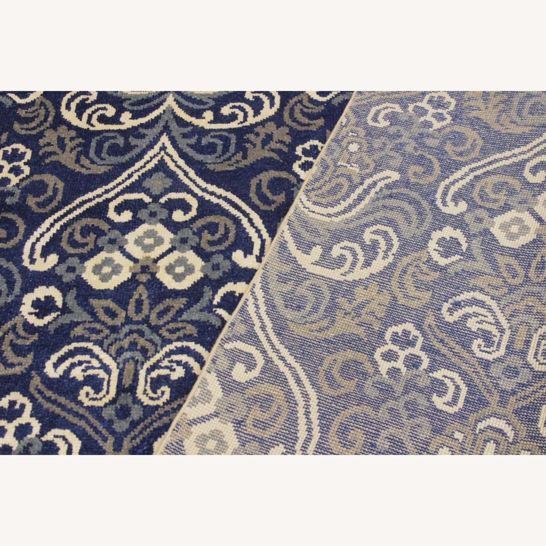 Arshs' Fine Rugs Modern Modesta Blue/Ivory Wool & Silk Rug - image-3
