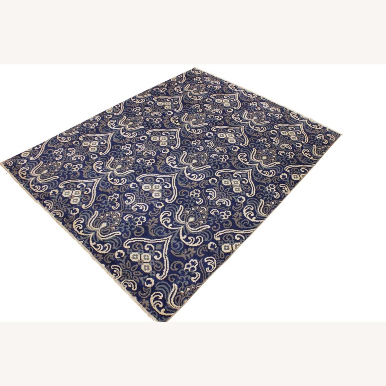 Arshs' Fine Rugs Modern Modesta Blue/Ivory Wool & Silk Rug - image-4