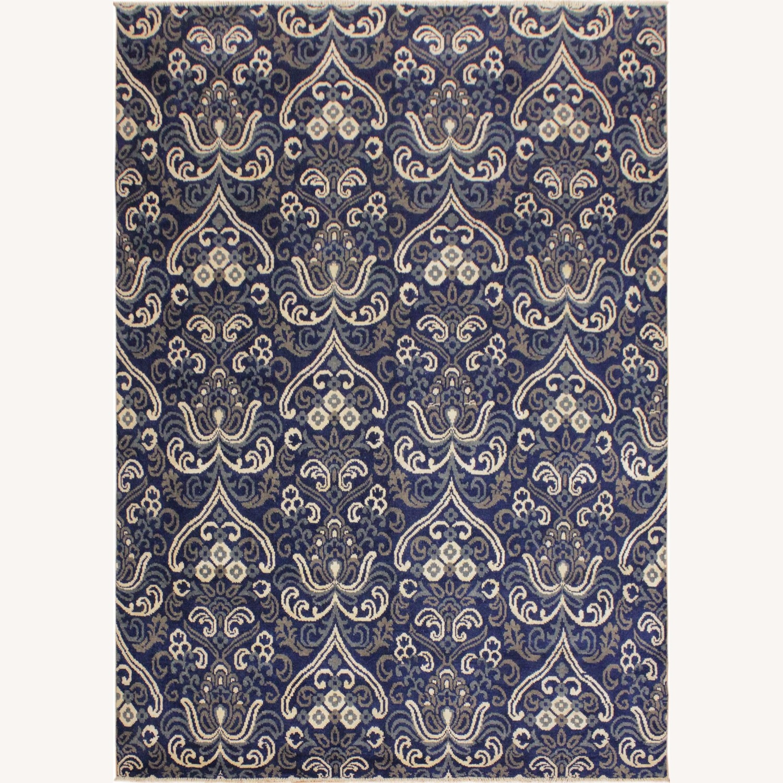Arshs' Fine Rugs Modern Modesta Blue/Ivory Wool & Silk Rug - image-0