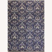 Arshs' Fine Rugs Modern Modesta Blue/Ivory Wool & Silk Rug