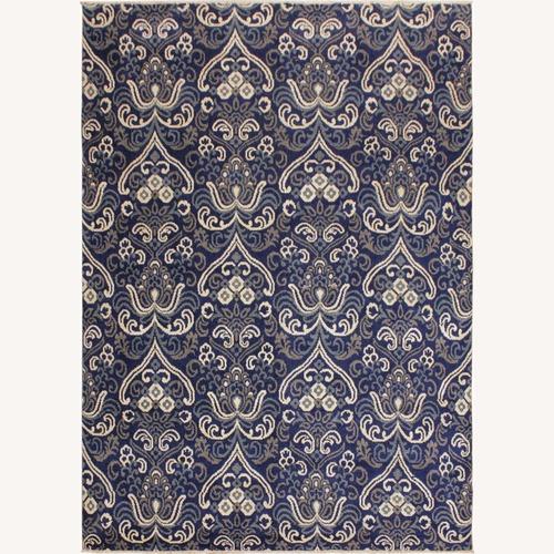 Used Arshs' Fine Rugs Modern Modesta Blue/Ivory Wool & Silk Rug for sale on AptDeco