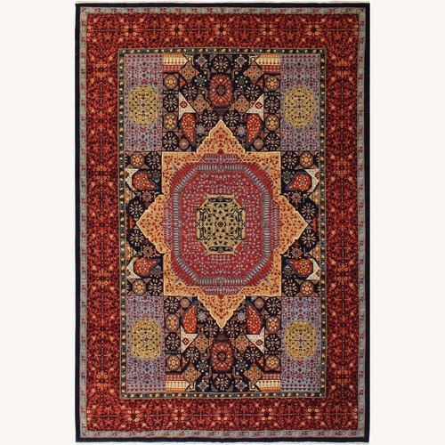 Used Arshs' Fine Rugs Mamluk Antonina Blue/Red Wool Rug for sale on AptDeco