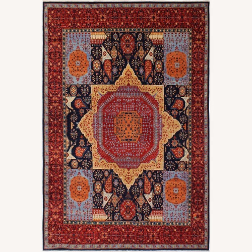 Used Arshs' Fine Rugs Mamluk Antonio Blue/Rust Wool Rug for sale on AptDeco