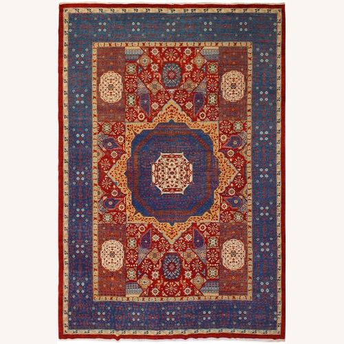 Used Arshs' Fine Rugs Mamluk Antony Red/Blue Wool Rug for sale on AptDeco