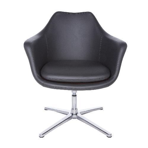 Giovana Mid Century Gray Leather Armchairs