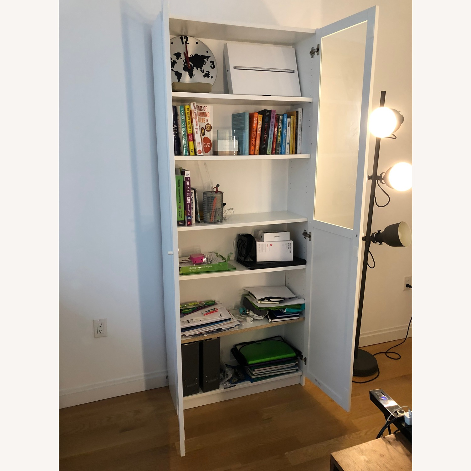 Ikea Billy Bookcase White With Glass Doors