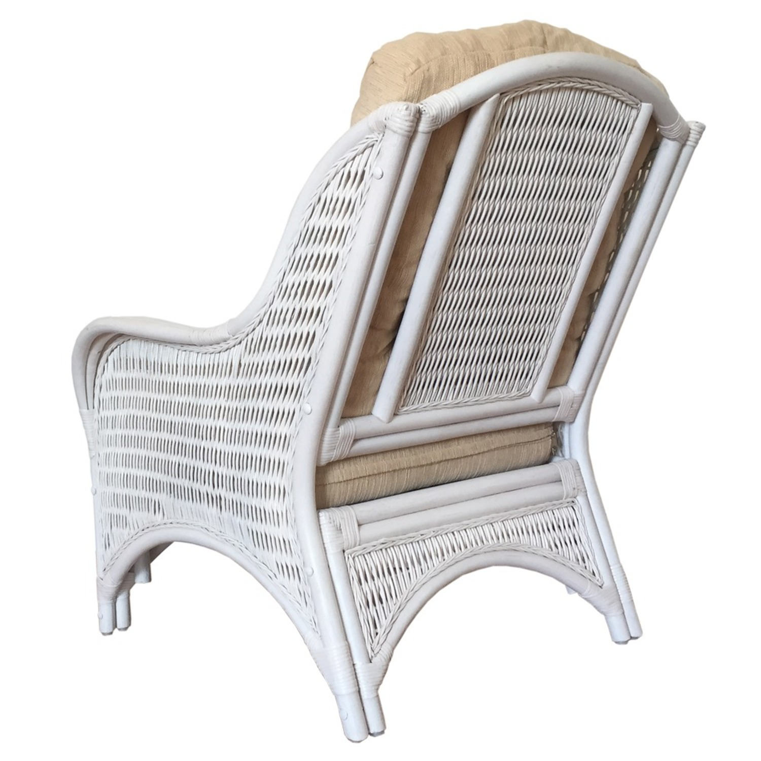 Karmen White Solid Rattan Lounge Chair - image-1