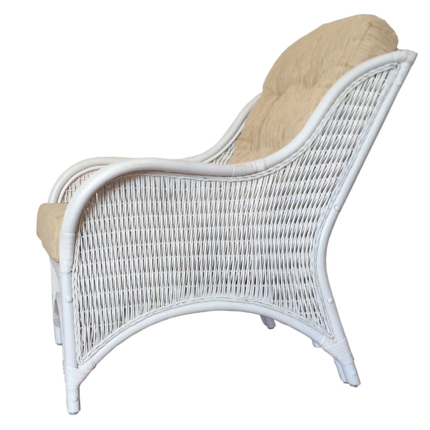 Karmen White Solid Rattan Lounge Chair - image-2