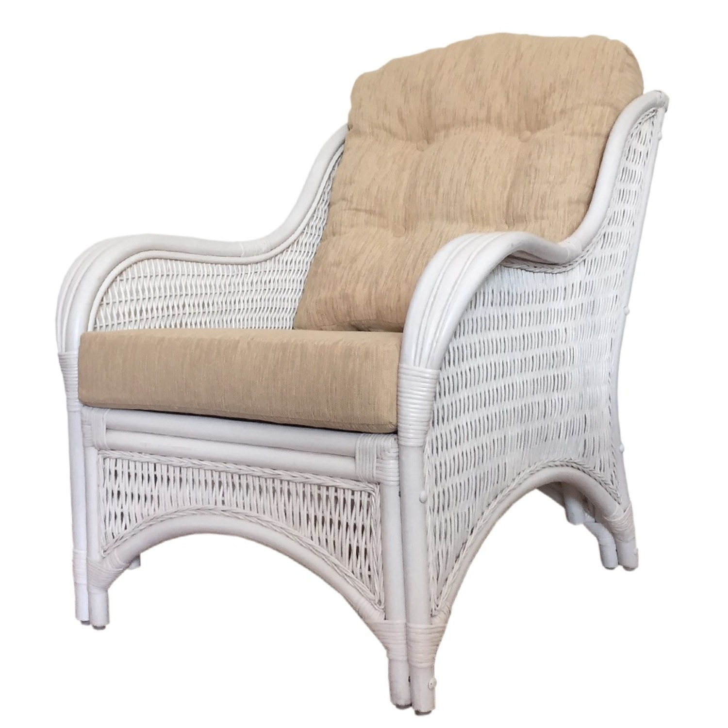Karmen White Solid Rattan Lounge Chair - image-0