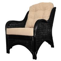 Karmen Black Solid Rattan Lounge Chair