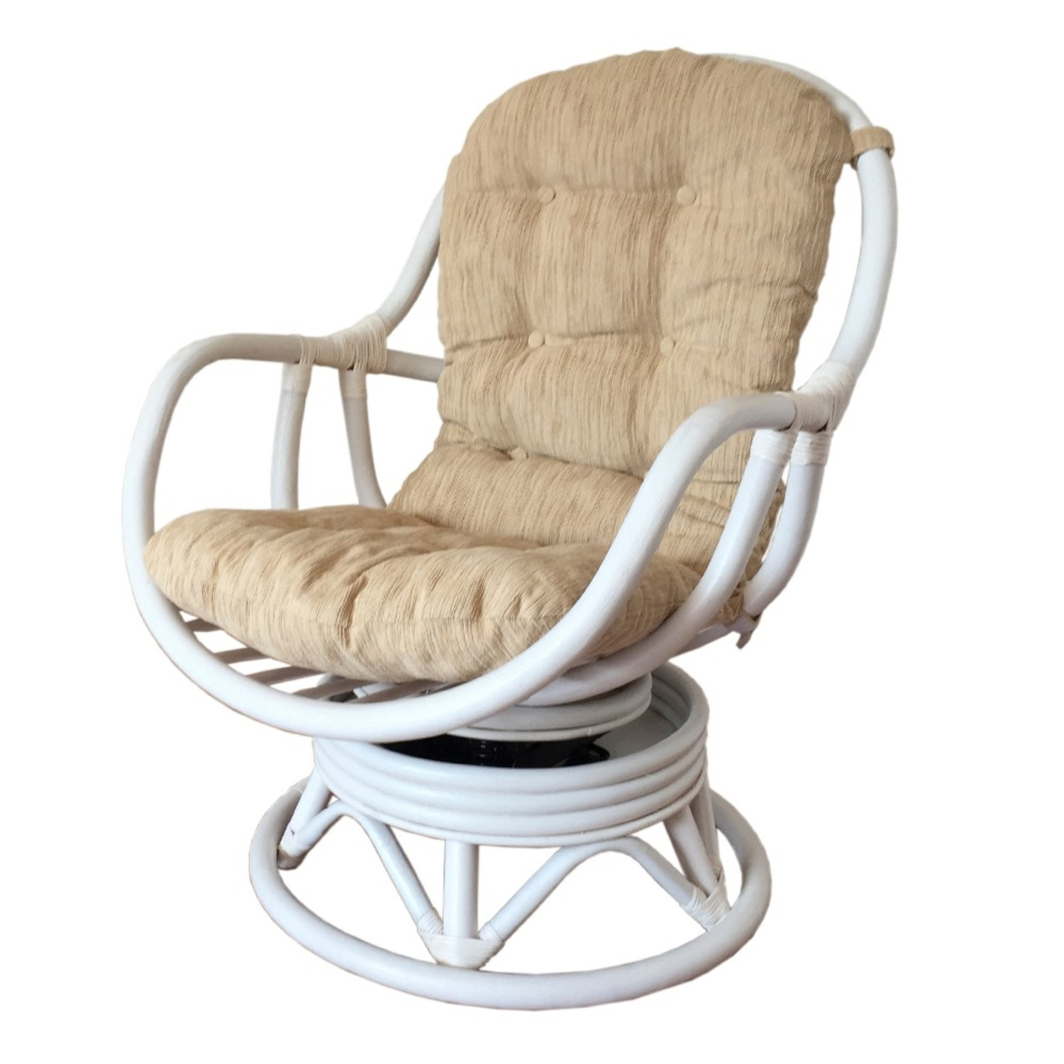 Erick White Solid Rattan Swivel Rocking Chair - image-0