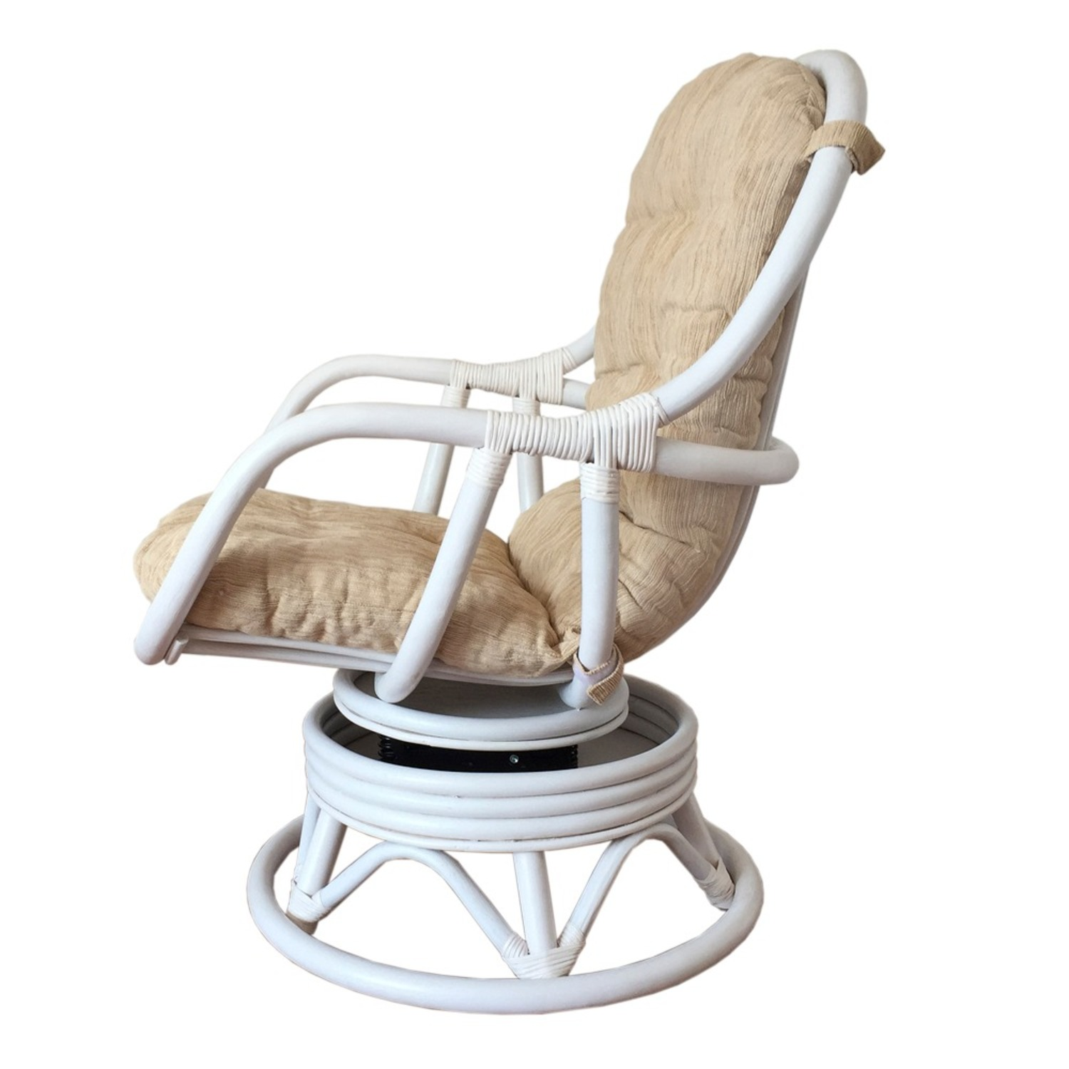 Erick White Solid Rattan Swivel Rocking Chair - image-2
