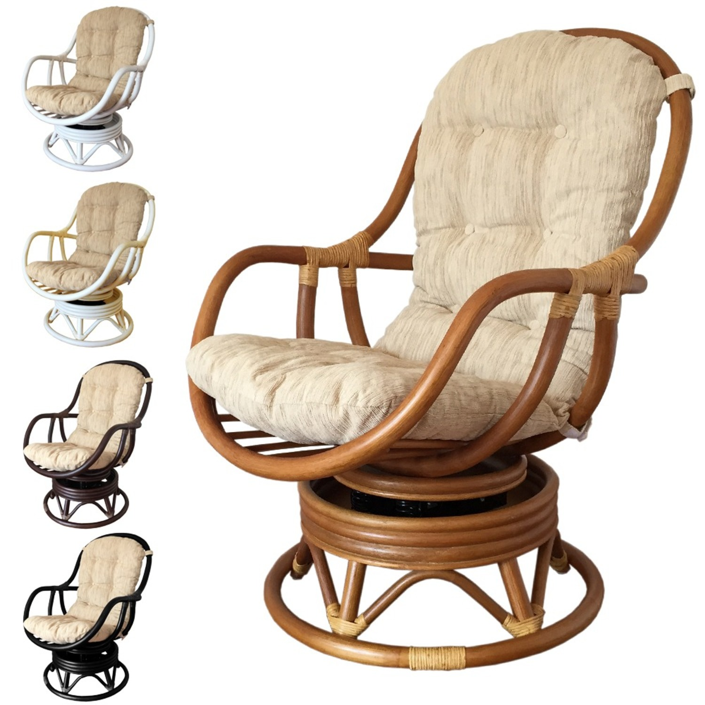 Erick Black Solid Rattan Swivel Rocking Chair - image-1