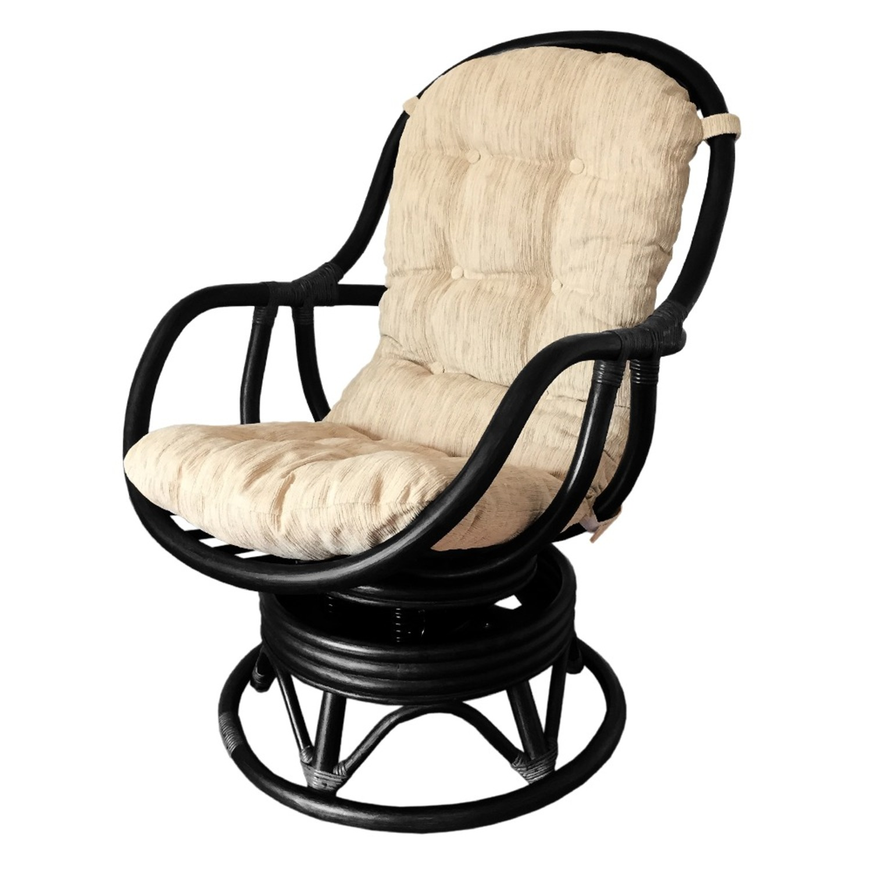 Erick Black Solid Rattan Swivel Rocking Chair - image-0