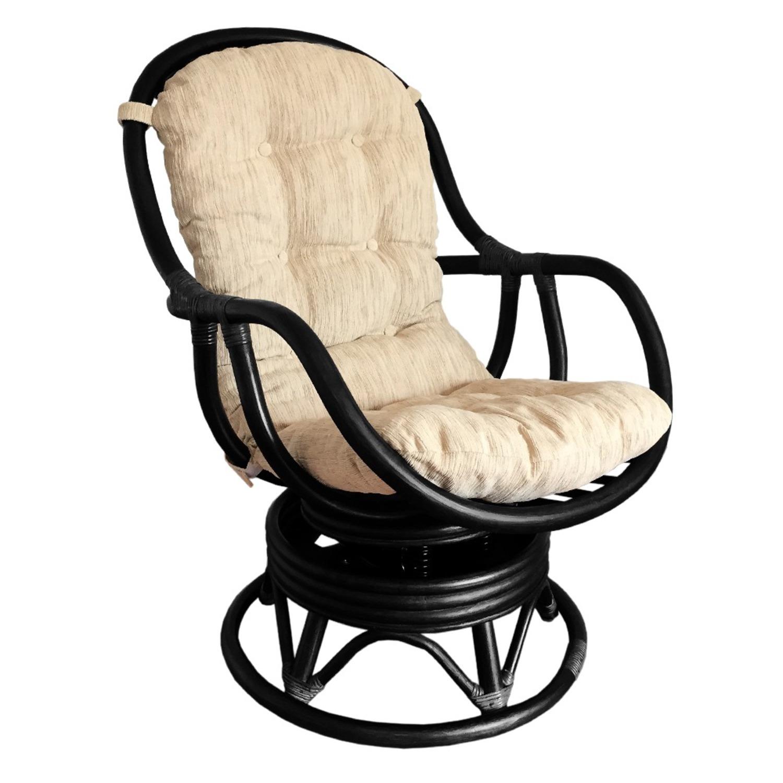 Erick Black Solid Rattan Swivel Rocking Chair