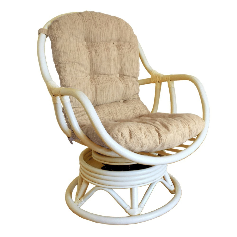 Erick White Wash Rattan Swivel Rocking Chair