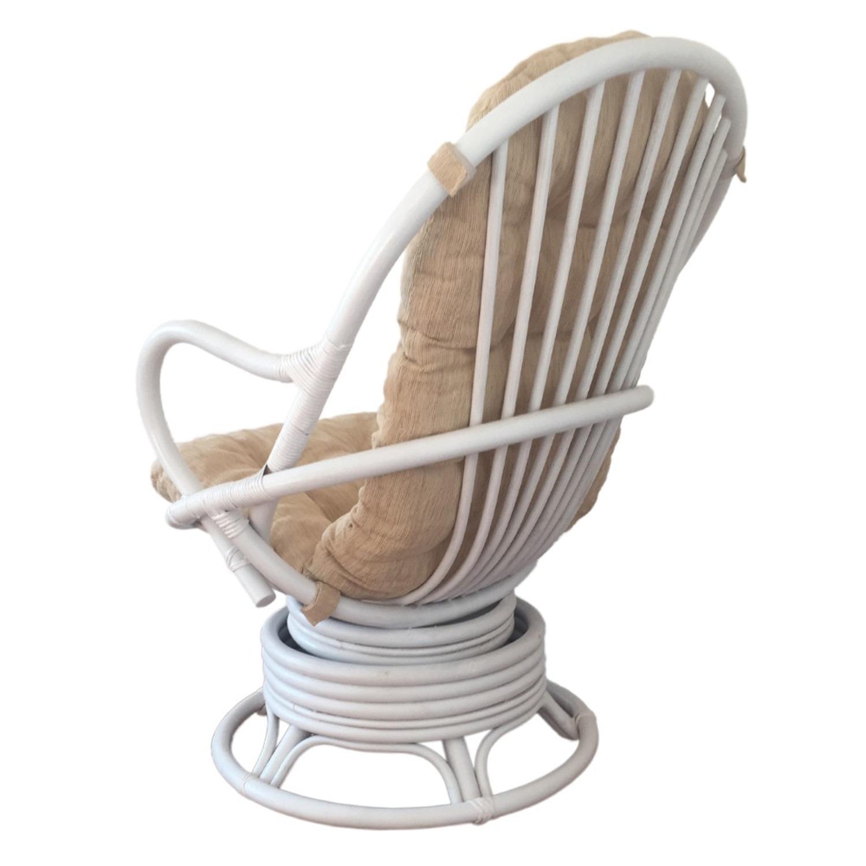 David White Solid Rattan Swivel Rocking Chair - image-1
