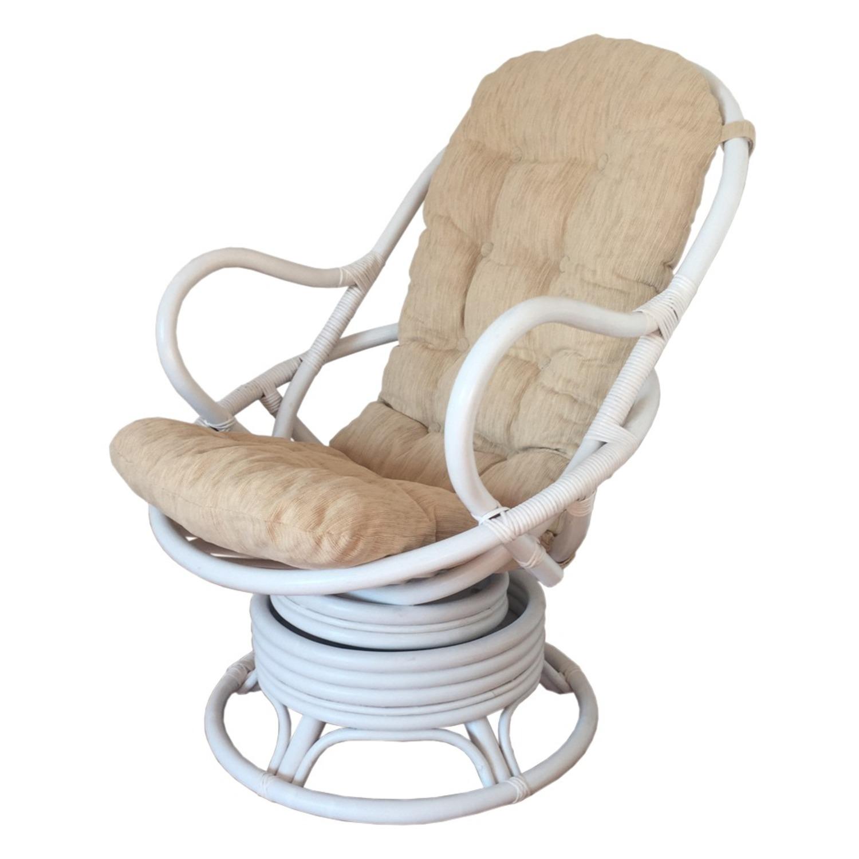 David White Solid Rattan Swivel Rocking Chair