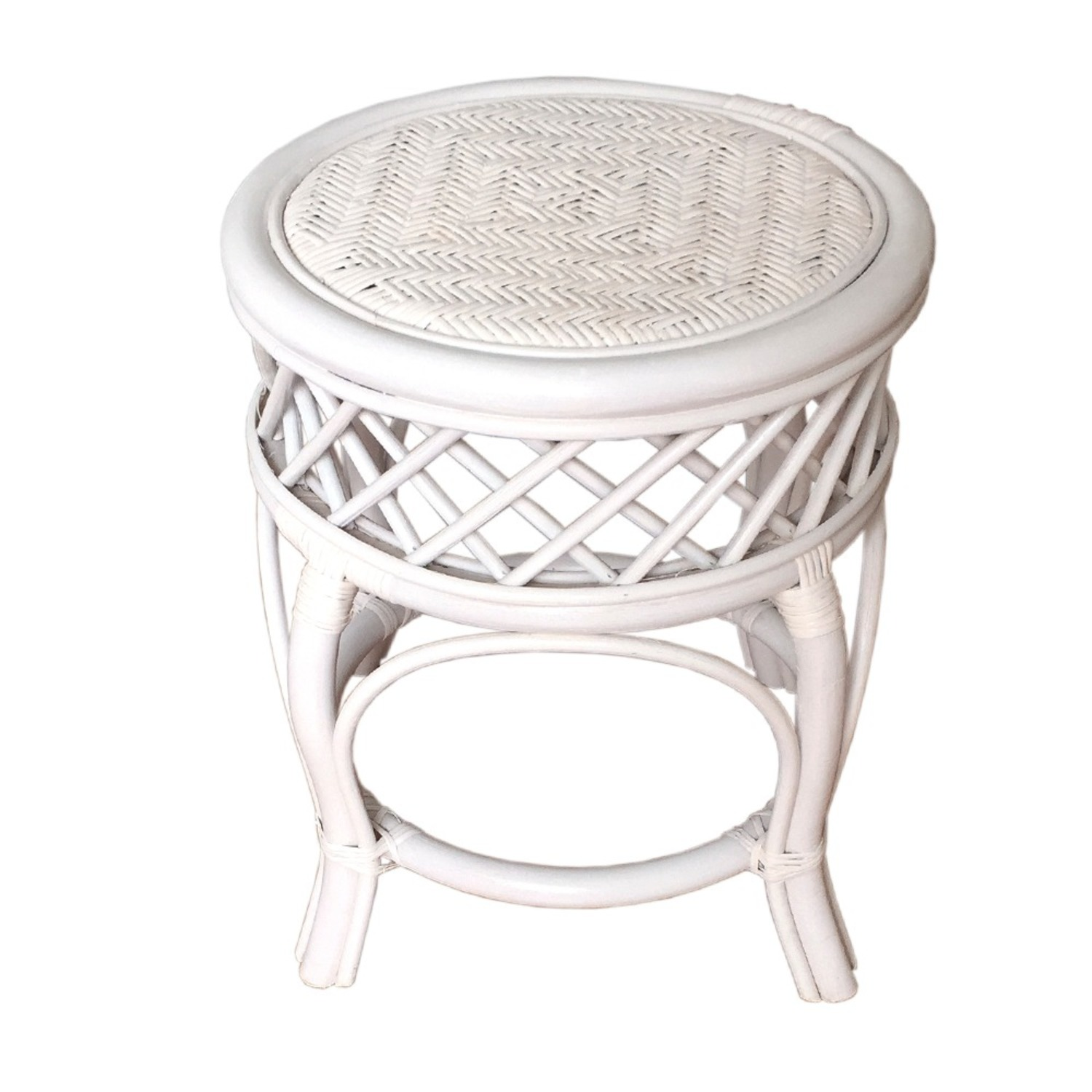 Mary Round White Solid Rattan Stool - image-3