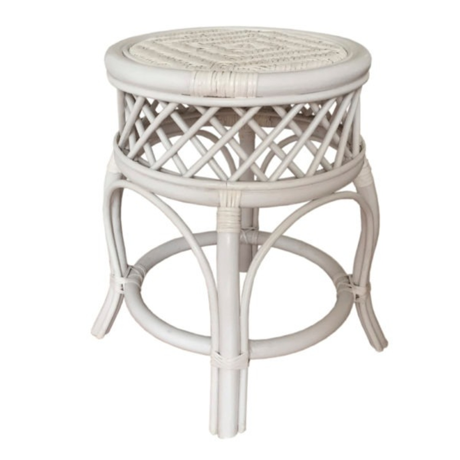 Mary Round White Solid Rattan Stool - image-0