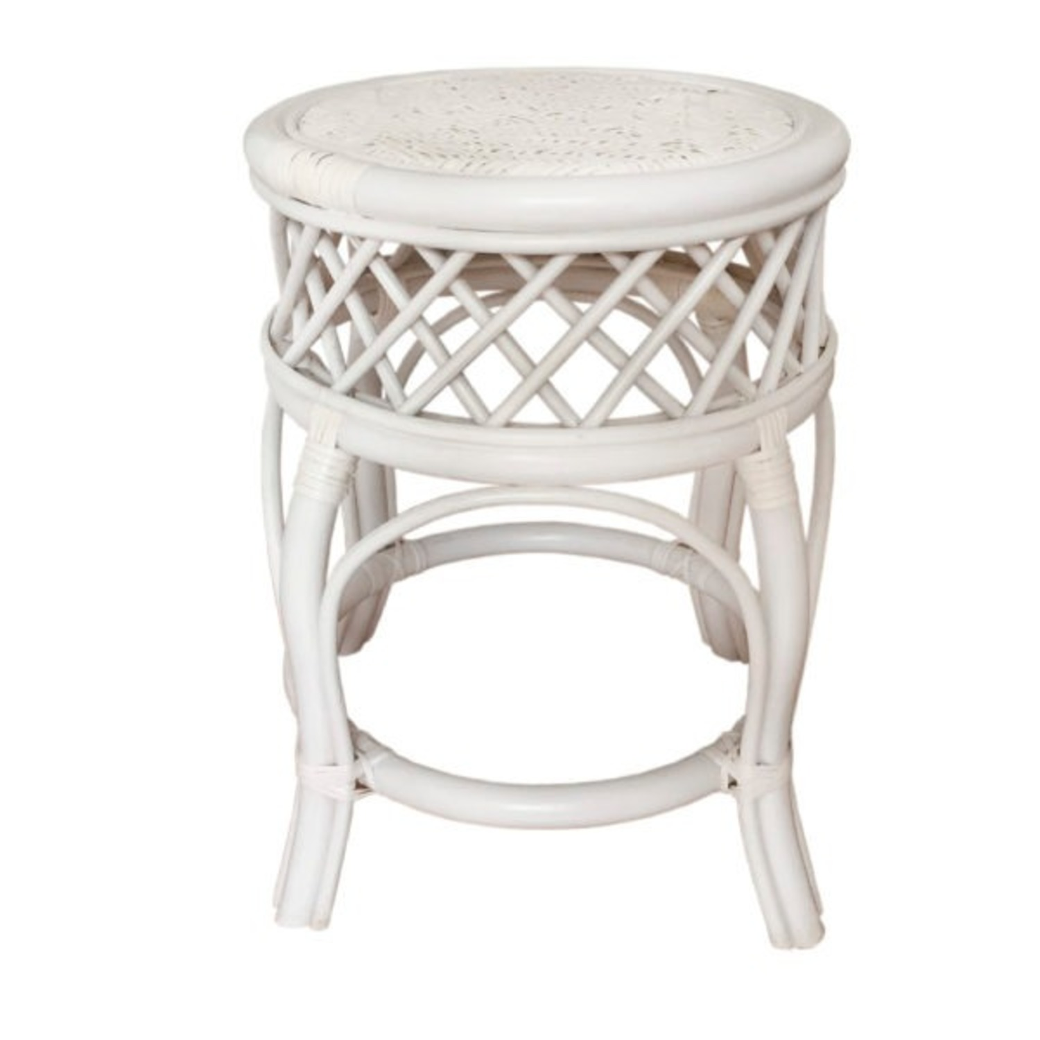 Mary Round White Solid Rattan Stool - image-2