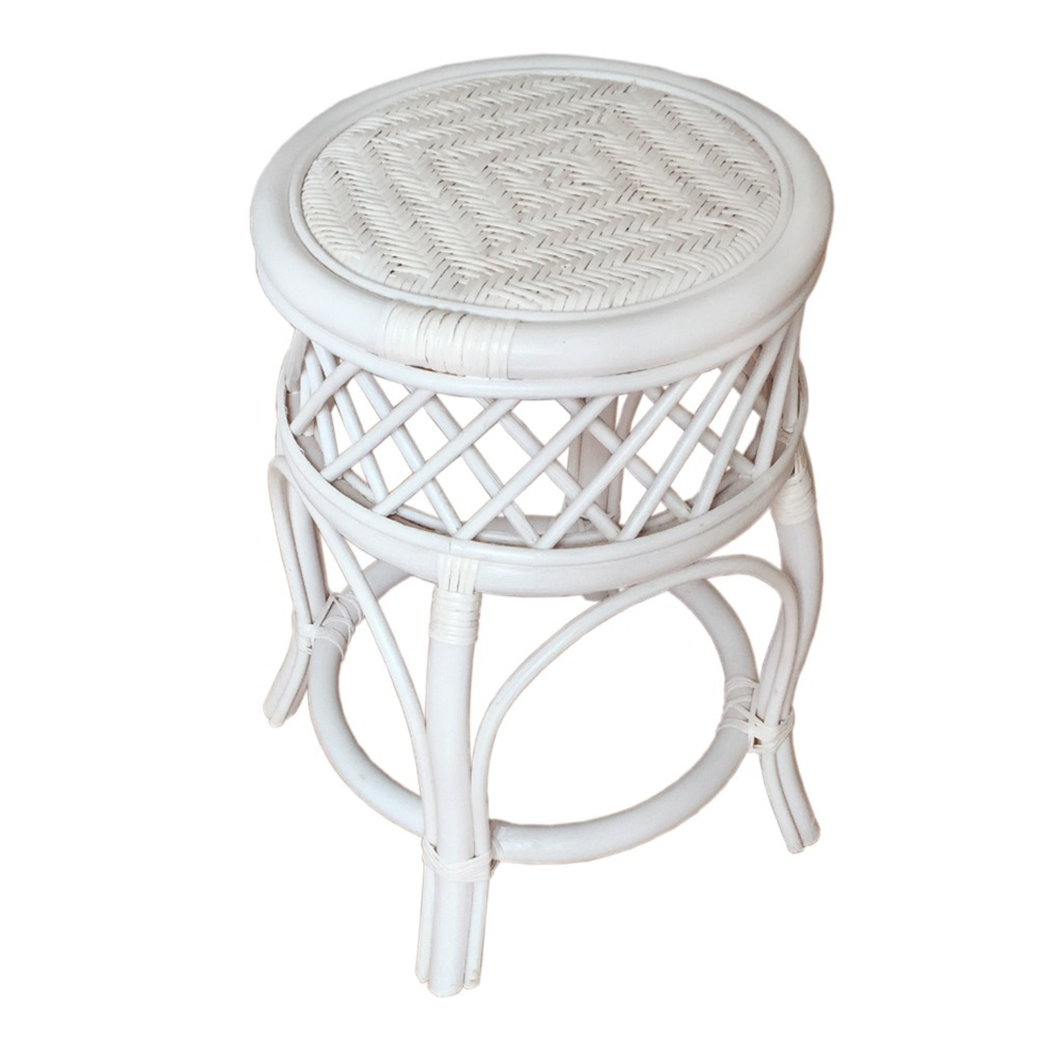 Mary Round White Solid Rattan Stool - image-1