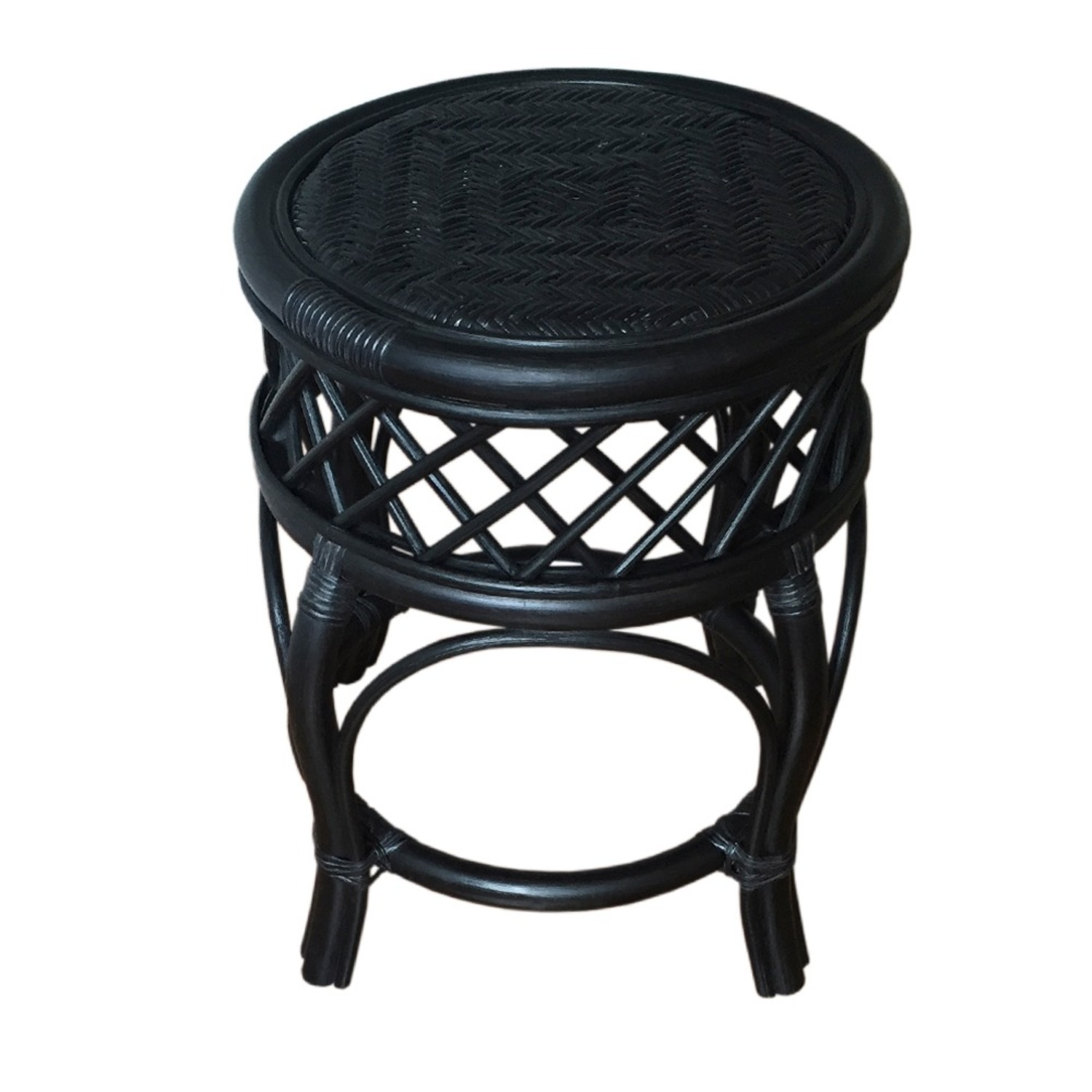 Mary Black Round Solid Rattan Stool