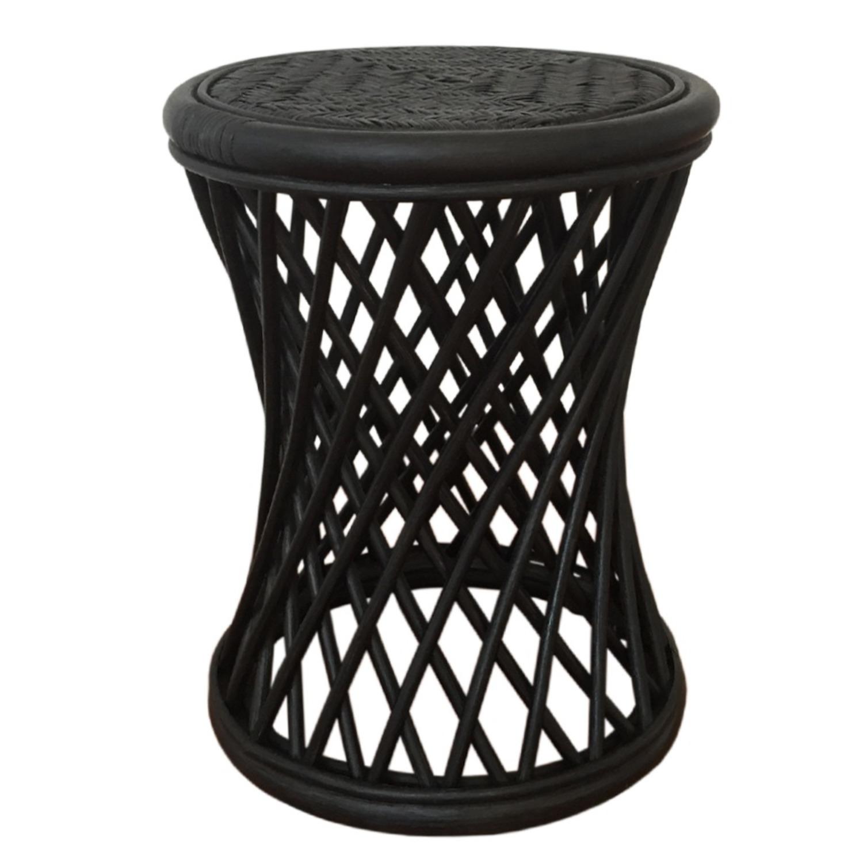 Mikki Black Solid Round Rattan Stool - image-0