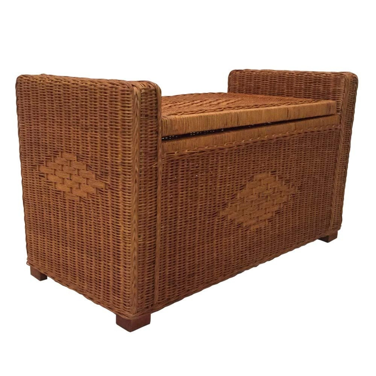 Adam Light Brown Rattan Chest Storage Ottoman - image-2