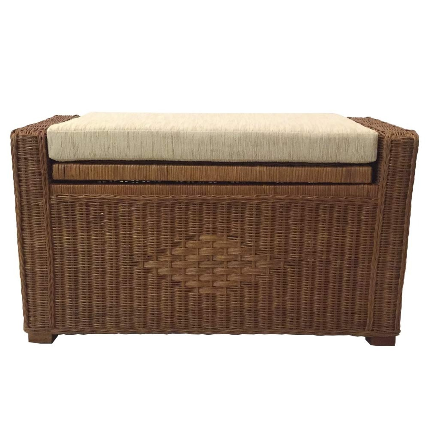 Adam Light Brown Rattan Chest Storage Ottoman - image-0