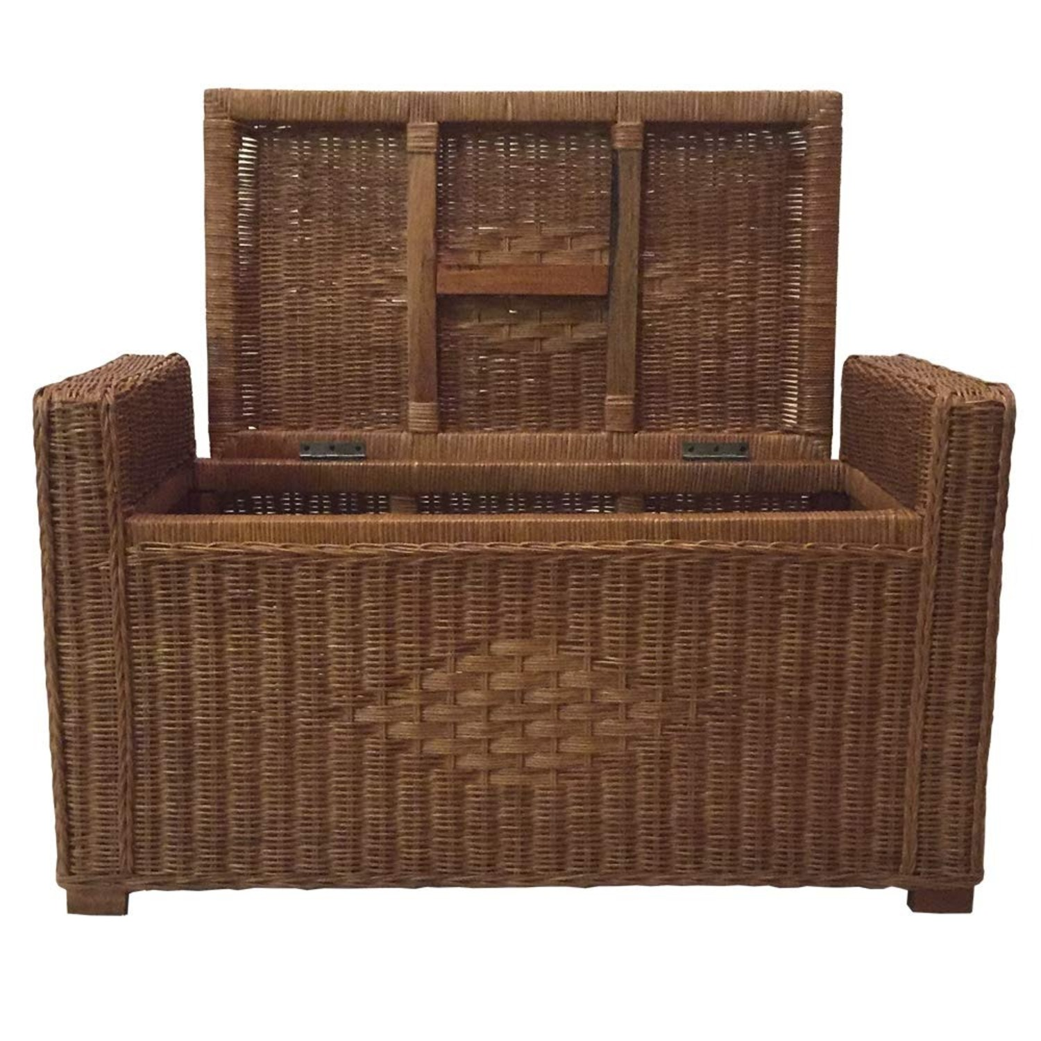 Adam Light Brown Rattan Chest Storage Ottoman - image-4