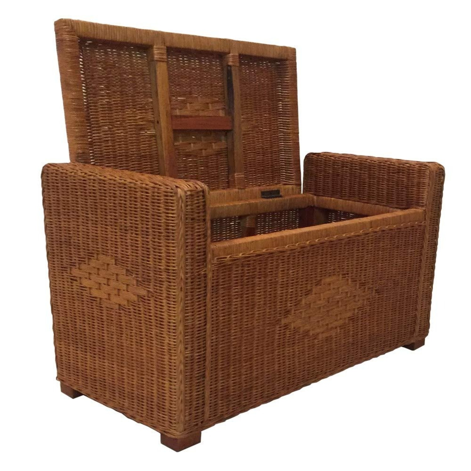 Adam Light Brown Rattan Chest Storage Ottoman - image-3