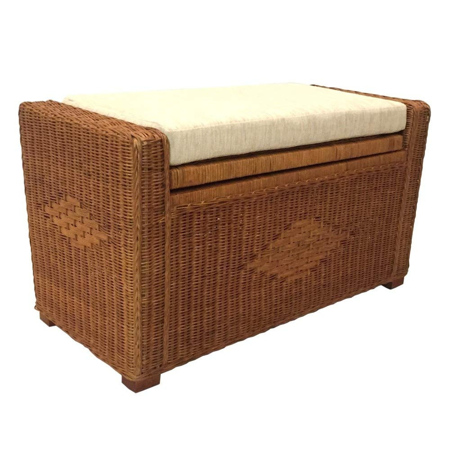 Adam Light Brown Rattan Chest Storage Ottoman - image-1